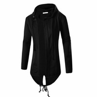 Wholesale mens hooded cardigans - Fashion Autumn Black White Cloak Hooded Sweatshirt Hoodie Men Streetwear Hip Hop Long Hoodies Clothing Mens Outerwear Cardigan M-3XL