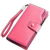 Wholesale Ladies Clutch Wallets For Phones - Women's Wallets Casual Purse Clutch Brand Female Leather Long Fold Wallet Design Women Phone Zipper Bag Gift For Lady HQB2030