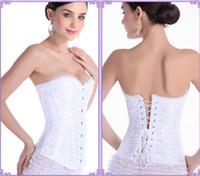 Wholesale Lace Up Waist Cinchers - Cute Club corset Women training Shapers Overbust Lace up Black White Corset S-6XL 1 pcs drop ship