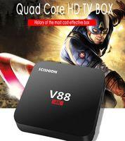 Wholesale Internet Tv Box Usb - V88 4K Android 5.1 TV Box Rockchip RK3229 1G 8G Quad Core HD 4 USB 4K H.265 10-bit 60fps WiFi Media Player WIFI Internet Set Top Box