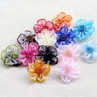 Wholesale Ribbon Flowers Decoration - 200pcs Upick Organza Ribbon Flower Bows Appliques Craft Wedding Decoration