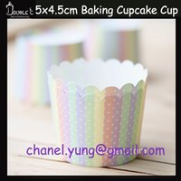 Vente en gros - 5x4.5x50pcs Fancy Pretty Rainbow Dot Paper Cupcake Cups, Muffin Case Whosales, Party Cups Liner, Décoration de fête, Outils jetables