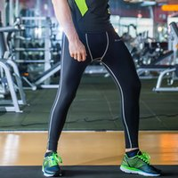 Wholesale Spandex Under Clothes - New Men Sports Apparel Skin Tights Compression Base Under Layer Long Pants Quick Dry Leggings Gym Sports Fitness Joggings Clothing