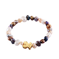 Wholesale Bear Shell - Stainless steel good quality grey white shell pearl beads bracelet gold silver rose gold jewelry bears for girl & lady