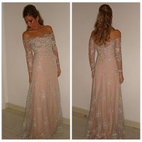 Wholesale Ivory Maxi Dresses Online - 2016 Modest Lace -Line Pink Evening Dresses Bateau Long Sleeves Beaded Sequined Sweep Prom Party Gowns Custom Online Formal Maxi Dress