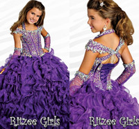 ingrosso tubo del manicotto-2016 Ritzee Halter Ball Gowns Girls Pageant abiti con maniche ricoperte 2017 perline Crystal Piping pavimento-lunghezza Lace-up ragazze Pageant Gowns