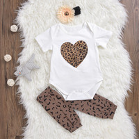 Wholesale Best Toddler Clothes - INS Baby girls clothes kids Love heart short sleeve romper toddler leopard print stocking fabric flower headband infant clothing set best