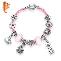 Wholesale Lucky Clover Heart Bracelet - BELAWANG Pink Genuine Braided Leather Bracelet Girls Bracelets Love Heart Lucky Clover Pink Murano Glass Beads Charm Bracelet Women Jewelry