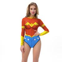 vestuário das mulheres maravilhas venda por atacado-Trajes de Halloween 3D para Mulheres Mulher Maravilha Traje Adulto Bodysuit Personagem Trajes de Roupas Trajes de Halloween trajes Frete Grátis