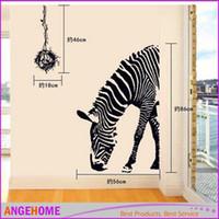 pau de zebra venda por atacado-60 * 90 cm preto zebra vara de parede animal, arte diy adesivos de parede sala de estar decoração do quarto para crianças menino home decor parede poster
