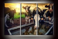 Wholesale Large Wall Art Contemporary Landscape - Gift 3 Panel Hot Sale Modern Home Decor Large Contemporary Wall Art Painting Animal Cows Sunrise Scenery HD Picture Printed On Canvas