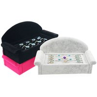 Wholesale Ring Display Sofa - Decorative Jewelry Ring Holder Velvet Roll Slot Sofa Shape Finger Rings Earrings Cufflink Displays Counter Table Top Jewellery Exhibition