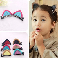 Wholesale Ears Hair Clip - 2 PCS lot Baby Hair Accessories Girls Hair Clips Shine Lovely Cat Ear Hairpins Barrettes Headwear for girls Wholesale DHF665