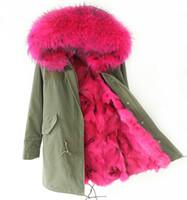 Wholesale Ladies Genuine Fur Jackets - New arrival Lady Long fur parkas Large real raccoon fur collar genuine fox fur liner mr&mrs same green jacket
