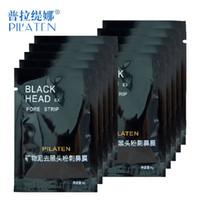 Wholesale Strawberry Sheets - 3000pcs  lot Black mask PILATEN face mask Tearing style Deep Cleansing New oil skin strawberry nose black mud masks 6g