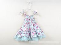 Wholesale Floral Gauze Dress - 2016 Summer New Girl Dress Pastoral Style Floral Gauze Slip Dress Wholesale Children Clothing 2-7T 2048