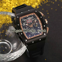 Wholesale orange skeleton - Brand New RM011 Black Skeleton Dial Felipe Massa Flyback Automatic Mens Watch PVD Black Rubber Strap Gents High Quality Luxury Sport Watches