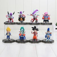8pcs / set 8cm Anime Cartoon Dragon Ball Z Sun Goku Vegeta Frieza PVC Figura de ação Collectible Model Toys Doll