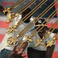 oro gold großhandel-70CM Hiphop Gold Ketten für Männer 24K Gold Engel Kette Männer Halskette Gold Engel Anhänger Herren Halskette Kette cadena de oro hombre