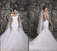 Wholesale Cheap Mermaid Skirts - Cheap In Stock Berta Sexy Sheer Back Mermaid Wedding Dresses Spaghetti Straps Full Lace Appliqued Bridal Gown Saudi Arabia Dubai Vestidos