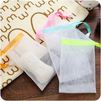 Wholesale Mesh Net Gloves - Wholesale-3pcs lot Hanging Nylon Soap Mesh Bag Mesh Net for Foaming Cleaning Bath Soap Net bathe cleaning gloves HE22