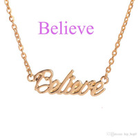 Wholesale Peace Letter - The Letter Pendant Necklace Hope Love Faith Lucky Peace Unique Blessed Happy Dream Silver Gold Choker Necklace Women Sister Gifts Jewelry