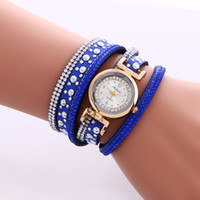 Wholesale Wrap Watch Brands - Hot Brand Watch Fashion Casual Quartz Watches Weave Wrap Around Bracelet Watch Crystal Synthetic Fashion Chain Watch for Christmas Gift