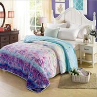 lavendel-steppdecken großhandel-Lavendel Druck Sommer Quilts für Kinder Erwachsene, 1,5 mt 1,8 mt 2,0 mt Klimaanlage Decke Dünne Quilt Tröster Heimtextilien Geschenk