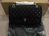 Wholesale Small Price - 2016 lady's genuine leather flap bag,25cm,medium size,111-2,high quality lambskin caviar patent leather,good price