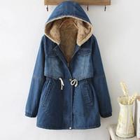 Wholesale Full Denim - Mori Girl Winter Parkas for womn Vintage Denim Outerwear Long sleeve With velvet Hooded Blue colors M-XL