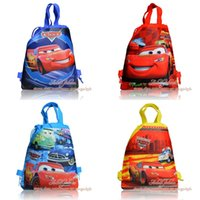 Wholesale Cars Drawstring Backpack - 4Pcs Cars Kids Children Drawstring Backpack School Bags,Boys Party Gift Bags,34*27cm,Free Shipping