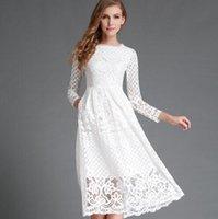 Wholesale Elegant Dress Lace Pencil - New 2016 Summer Fashion Hollow Out Elegant White Lace Elegant Party Dress High Quality Women Long Sleeve Casual Dresses