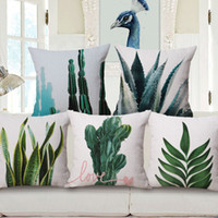 Wholesale Leaf Throw Pillows - modern botanical cushion cover nordic plant chair sofa throw pillow case leaf leaves cactus almofada plant pineapple cojines