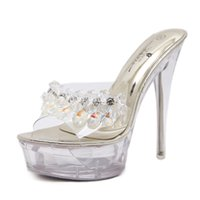 13 cm High Heel Transparent Frauen Sandalen Perlen Blume Peep Toe Mode Stiletto Frauen Sandalen Größe 34-39