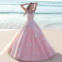 Wholesale Wedding Dresses Line China - Fabulous 2016 Blush Pink Tulle Wedding Dresses Summer Beach Scoop Lace Applique Long Sweet 16 Quinceanera Dress Custom Made China EN70513
