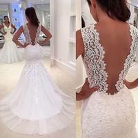 Wholesale Gorgeous Satin Dresses - Backless Gorgeous Lace Applique Mermaid Sexy Wedding Dresses 2016 New Deep V-Neck Sweep Train Sexy Bridal Gowns No Sleeve Vestidos De Novia