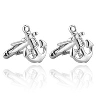Wholesale plated mens silver cufflinks online - High Quality Mens Suit Anchors Gemelos Cufflinks For Wedding Fashion classic French Shirt Brand Cuff Links Cuff Buttons Accessory