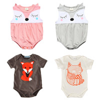Wholesale Fox Animals - Baby Rompers Fox Cartoon Newborn Boys Girls Triangle Jumpsuits Fox Short Sleeve Sleeveless 95% Cotton Spring Summer Outfit 0-24M