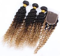 Wholesale Brazilian Hair Supplies - Supply Brazilian hair deep wave ombre hair extension free part lace closure with hair bundles two tone #1b 27 4pcs lot