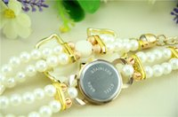 Wholesale Low Price Bow Ties - White Bow-Tie Imitation Pearl Elegant Temperament High-End Lady Bracelet Watch Low Price Send a Mother Or Friend Christmas Gift
