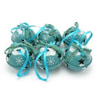 Wholesale Blue Bell Jingle - Christmas decoration 6 pcs blue metal shiny Jingle Bells 50mm*50mm*40mm for home,Holiday Everyday Embellishing free shapping <$18 no trackin