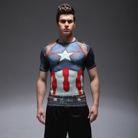 Wholesale Spandex Under Clothes - New Men Compression Under Base Layer Top Tight T-Shirt Super Hero Printing Gym Clothing High Elasticity Quick Dry Short Sleeve