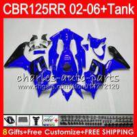 tanque de cbr al por mayor-Cuerpo + Tanque para HONDA CBR125 R azul brillante CBR125R 02 03 04 05 06 80NO14 CBR 125R 125RR CBR125RR 2002 2003 2004 2005 2006 Carenado 23 colores