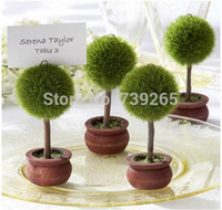 Wholesale Tree Place Card Holders Wedding - Round-shape 10pcs lot Topiary Tree Garden Theme Place Card Holder  Table Name Number Holder