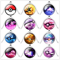 Wholesale gold poke for sale - Group buy Poke Halder Necklace Pocket Monsters Pikachu Eevee Charizard time gem glass cabochon necklace women men jewelry