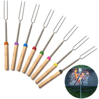 Wholesale Corn Sticks - Camping Campfire corn Hot Dog Telescoping Barbecue Roasting Fork Sticks Skewers BBQ forks (random color)