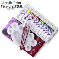 Wholesale artist paint painting brush - High Quality Acrylic Paints Tube Set Nail Art Painting Drawing Tool For The Artists 12ml 12 Colors Offer Paint Brushes For Free