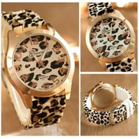 Wholesale Geneva Silicone Jelly - Wholesale-Beauty 2016 Newest Fashion Unisex Geneva Leopard Jelly Silicone Gel Analog Quartz Wrist Watch