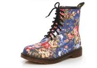 botas de vaquero botas al por mayor-Moda otoño hermosa flor zapatos mujer con cordones de la motocicleta vaca músculo vaquero botines planos para las mujeres