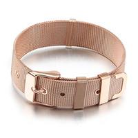 Wholesale Wholesale Rose Gold Mesh Bracelets - Men Rose Gold Stainless Steel Bracelet Cuff Belt Mesh Buckle Bangle Wristband 6 8 10 12 14 16 18mm Width 21cm Length